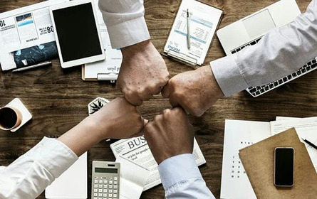 New start-up team working together
