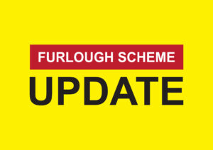 Image with a bright yellow background with the text 'Furlough scheme update'
